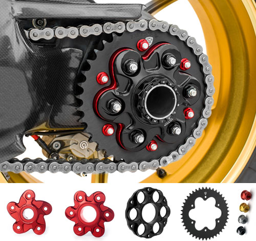 CNC Sprocket holder, flange, sprockets and nuts... all available.